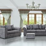 3 and 2 seater crushed velvet sofa
