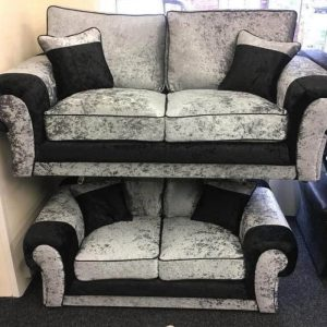 black and silver crushed velvet sofa